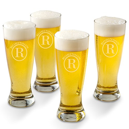 Personalized Pilsner Beer Glass Set of 4 Glasses - Circle Monogram