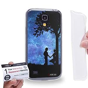 Case88 [Samsung Galaxy S4 Mini] Gel TPU Carcasa/Funda & Tarjeta de garantía - Art Dreamscapes Silhouettes Love Art1687