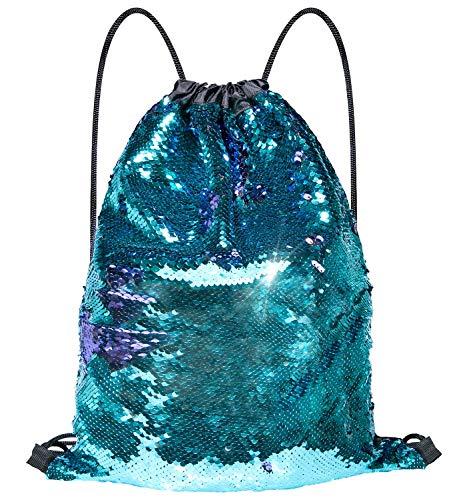 Senker Mermaid Sequin Drawstring Bags, String Glitter Mermaid Bag, Reversible Sequin Bags for Girls Boys Women