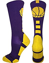 Basketball Socks with Basketball Logo Athletic Crew Socks (over 20 colors)