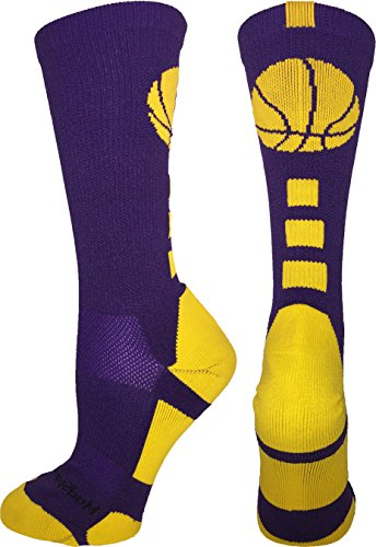 MadSportsStuff Basketball Logo Crew Socks (Purple/Gold, X-Large)