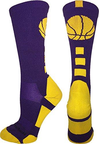 MadSportsStuff Basketball Logo Athletic Crew Socks, Medium - - Gold Purple And Shop