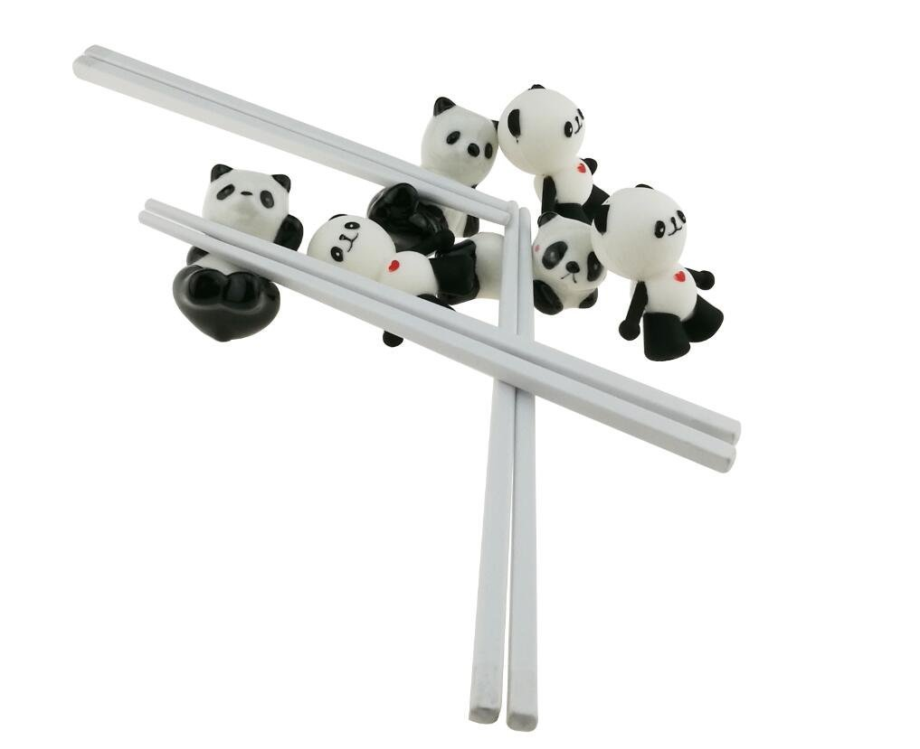 Cute Black and White Panda Chopsticks With Training Connector Ceramic Chopsticks Stand Rest Holder For Kids Adults (1 Set Of 3 Pairs Chopsticks and 3 Chopstick Rests) Winterworm