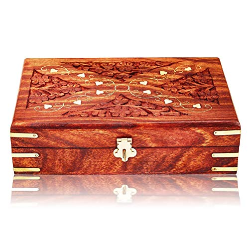 Great Birthday Gift Ideas Handmade Decorative Wooden Jewelry Box With Free Lock & Key Jewelry Organizer Keepsake Box Treasure Chest Trinket Holder Lock Box Watch Box 8 x 5 Inch Anniversary Gifts Her (Trinket With Box Small Lock)