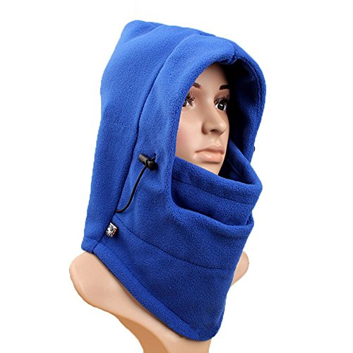 Wowlife@ Ascetic Tour Polar Fleece Balaclava Warm Full Face Cover Winter Ski Mask Beanie Cs Hat Double Layers Thermal Warm Fleece Thicken Balaclava Hood Full Face Cover Mask Winter Wind Proof Stopper Hat Neck Warmer for Outdoors Snowboarding Ski Motorcycle for Christmas Valentine's Day Gift (Blue)