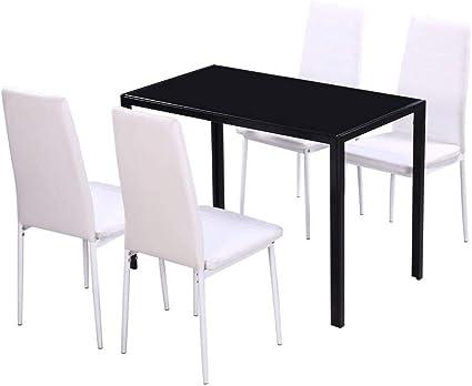 Vidaxl Set Da Pranzo Cucina Sala 5 Pz In Metallo Nero E Bianco Tavolo E Sedie Amazon It Casa E Cucina