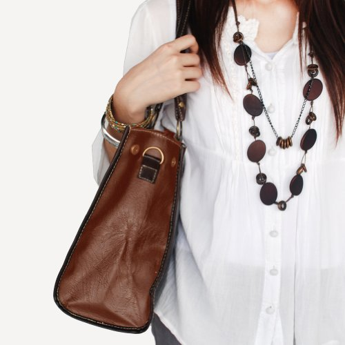 Tan w Shoulder Double Handle Casual Strap Handbag Leatherette Hobo Satchel Generous qp5SwP1