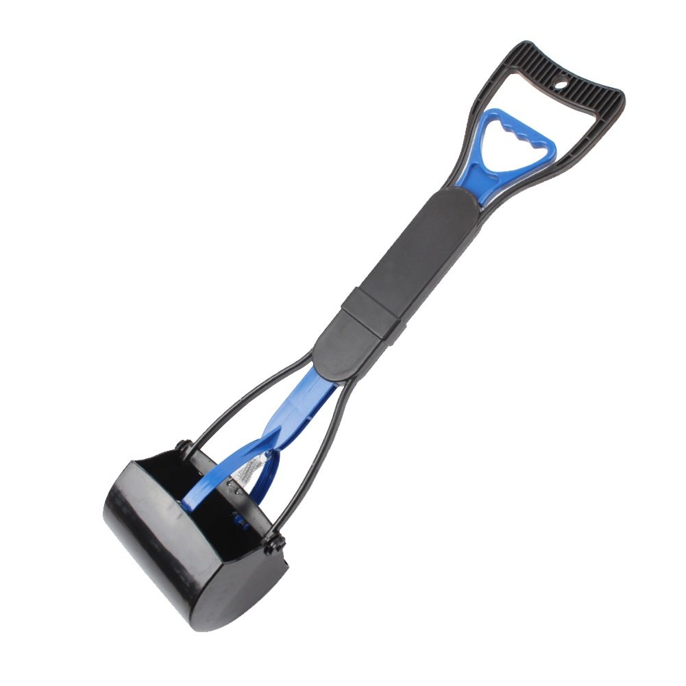 Dora Bridal Waste Scoop for Dogs Blue Extra Long Handle, Portable and Heavy Duty with Jaw Claw Bin Works Great in Grass and Gravel