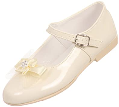Angel Girls Shiny Patent Bow Ankle Strap Buckle Flower Dress Shoes Ivory 7  Toddler (T77R15K 9dd34569babc
