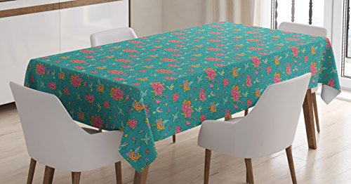Lunarable Hummingbirds Tablecloth, Nature Wildlife Inspired Pattern with Colorful Spring Wildflowers and Birds, Dining Room Kitchen Rectangular Table Cover, 52