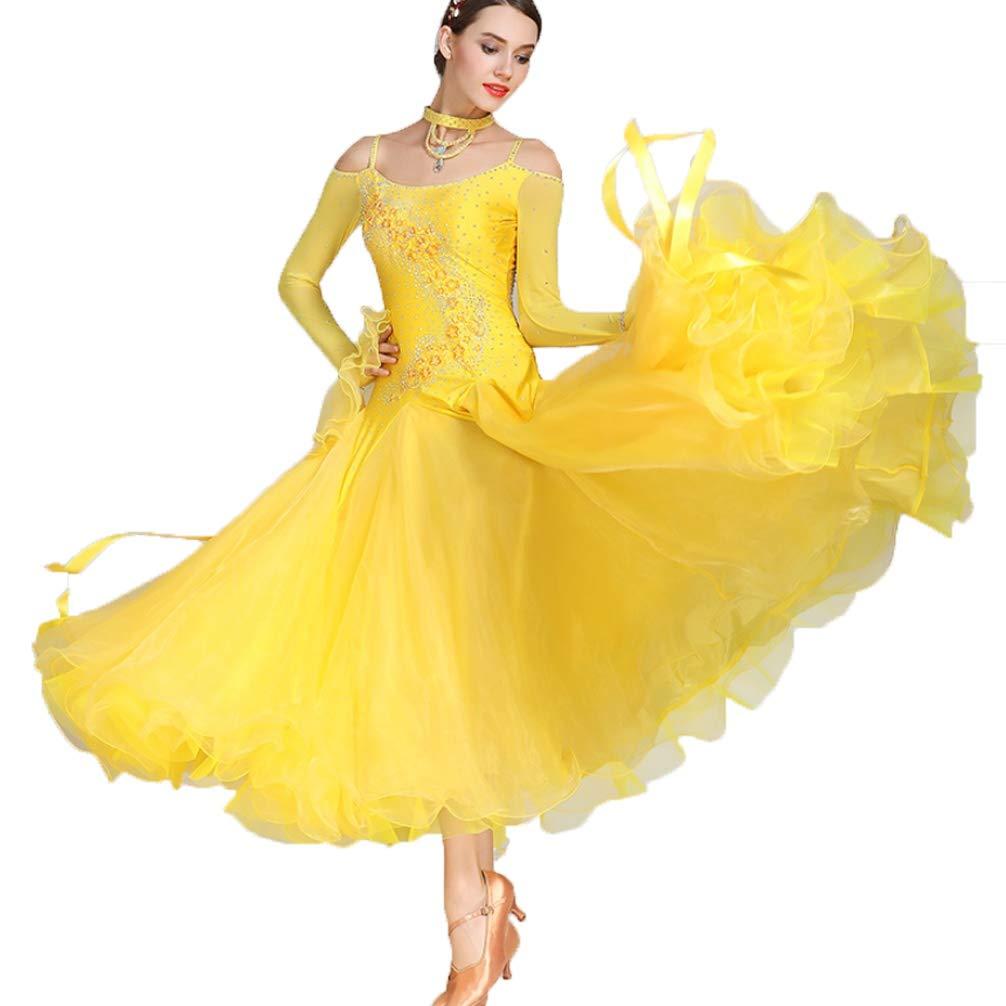 Wangmei Ballsaal Tanz-Outfit Damen Wettbewerb Kleider Walzer Modernes Kostüm Tüll Kristalle Strasssteine Netzhüllen Große Schaukel Mehr Farbe B07K48W8TH Bekleidung Stilvoll und lustig
