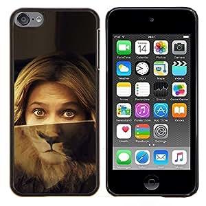 EJOOY---Cubierta de la caja de protección para la piel dura ** Apple iPod Touch 6 6th Touch6 ** --Retrato de la mujer Ojos del león Verde Rubia