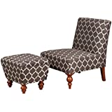 Kinfine USA Inc. HomePop Susan Upholstered Armless Accent Chair and Ottoman Set, Charcoal Geometric Trellis