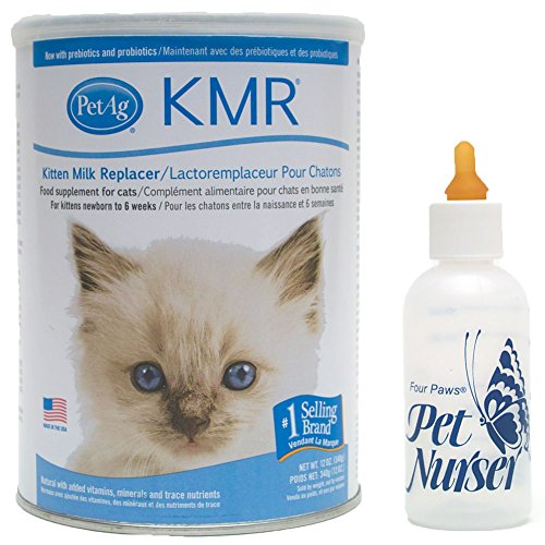 Foster Feeding Bottle - PetAg KMR Kitten Milk Replacement Bundle with Four Paws Kitten Nursing Bottle