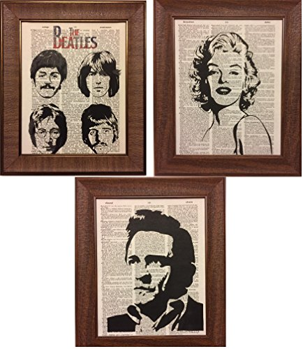 Set of 3 Johnny Cash Marilyn Monroe The Beatles Dictionary Book Page Art Print Picture Poster Office Home Office Bedroom Nursery Kitchen Wall Decor - unframed