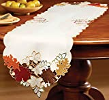 Collections Etc Maple Leaf Embroidered Fall Table Linens, Runner