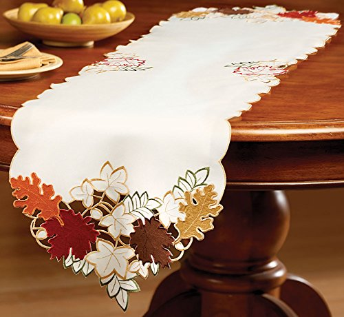Collections Etc. Fall Table Linens with Colorful, Embroidered Edges and Maple Leaf Cutouts in Fall Hues, - Linen Colorful