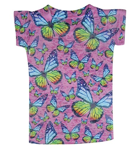 Stella Blu Clothing Big Girls Butterflies T Shirt 12 Pink