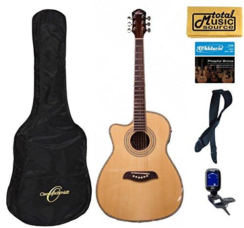 Oscar Schmidt Left Hand 3/4 Acoustic/Electric Guitar, Lefty,Bundle W/Bag OG1CELH