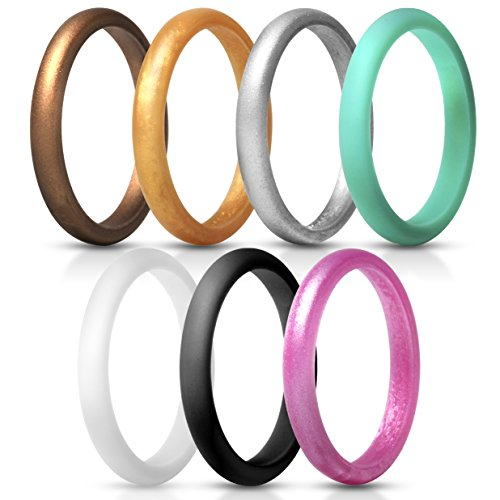 ThunderFit Women's Thin and Stackable Silicone Rings Wedding Bands - 7 Pack (Black, White, Turquoise, Copper, Rose Gold, Silver, and Gold, 5.5-6 (16.5mm)) (Ring Silver Stackable Bling)