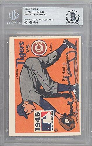 Hank Greenberg Autographed 1980 Fleer Sticker Card Detroit Tigers 1945 World Series Beckett BAS #10265796