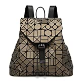 Women's Backpack Fashion Geometric Stitching Diamond Handbag,Gold-OneSize