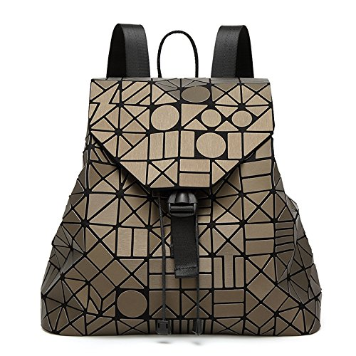 Matte Gold Handbags - Ladies Fashionable Handbag Geometry Rhombus Autumn Winter Japanese Folding Matte Backpack,Gold-OneSize