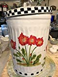 20 Gallon Hand Painted Galvanized Trash Can Decorative Garbage Can