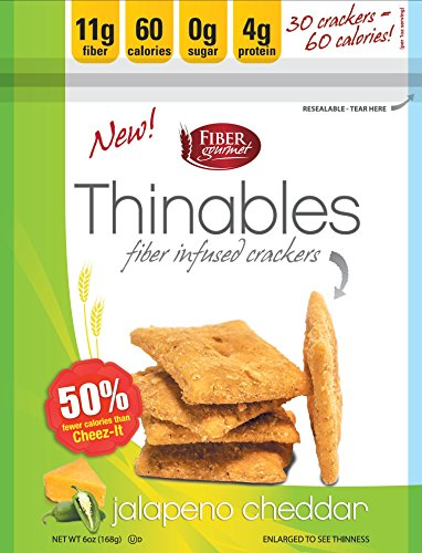 Thinables Low Calorie Crackers (6 pack) Jalapeno Cheddar, Healthy, Low Carb, Low Fat, Fiber Gourmet, 6 ounces, Weight Loss Snack, 24 Grams of Protein, 66 Grams Fiber