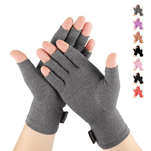 (DISUPPO Arthritis Gloves for Women Relieve Pain from Rheumatoid, RSI,Carpal Tunnel, Compression Gloves for Computer Typing, Dailywork, Hands and Joints Pain Relief (Gray, Medium))