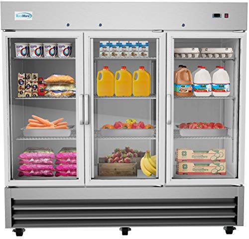KoolMore 81″ 3 Glass Door Commercial Reach-in Refrigerator Cooler with LED Lighting – 72 cu. ft