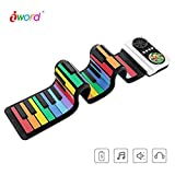 iWord Rainbow Roll Up Piano, with Music Scores - PLAY by COLOR, 37 Standard Keys with Loud Speaker, Educational Toy for Beginner, Perfect Gift for Children (White)