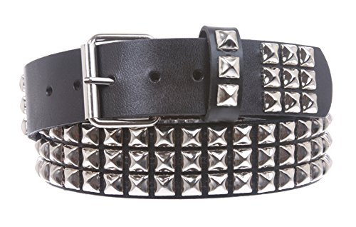 Snap On Three Row Punk Rock Star Metal Silver Studded Full Grain Cowhide Leather Belt, Black | -