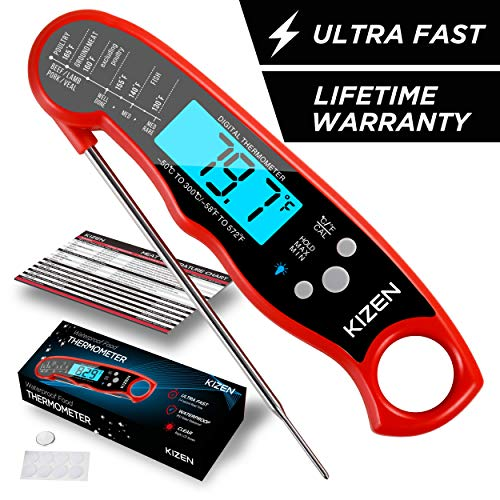 Kizen Instant Read Meat Thermometer - Best Waterproof Ultra Fast Thermometer with Backlight & Calibration. Kizen Digital Food Thermometer for Kitchen, Outdoor Cooking, BBQ, and Grill! ()
