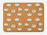 Lunarable Sheep Bath Mat, Farmland Cartoon Design Nursery Animal Lover Theme on Amber Flowers Background, Plush Bathroom Decor Mat with Non Slip Backing, 29.5 W X 17.5 W Inches, Amber Off White