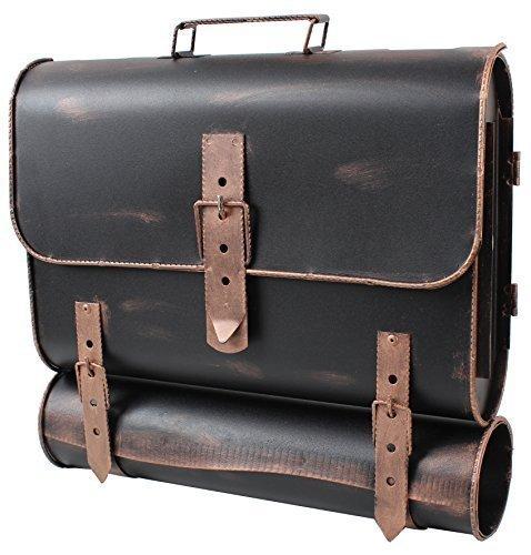 Großer Wand-Briefkasten außen | Postkasten als Schulranzen | Aktentasche mit Zeitungsfach | antik, Stahl - Made in Europe