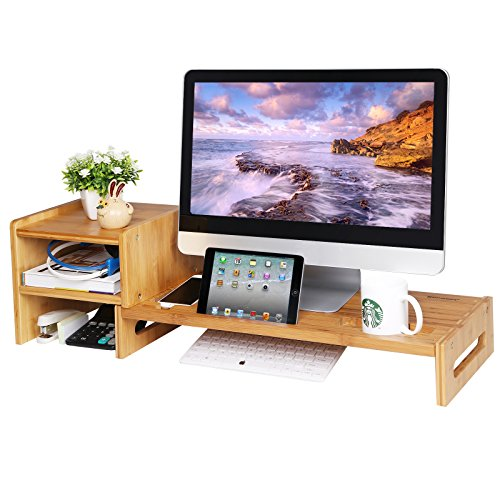Bamboo Desktop - SONGMICS Bamboo Monitor Stand Riser Laptop Cellphone TV Printer Stand with 2-tier Desktop Storage Organizer Patented ULLD217