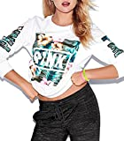 CFD Womens Mix Color Letters Printed Long Sleeve Sweatshirts White XS
