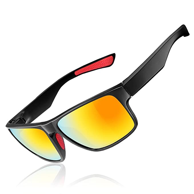 2b9092e7cb1e RockBros Sports Polarized Sunglasses Lightweight UV Protection Full Frame  Goggles Black Red