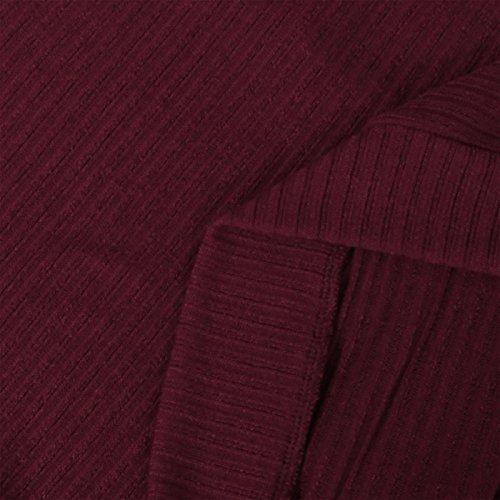 Uni Manche Style Femme Tricot Couleurs pour Longue 4 Bordeaux Pull Souris Chandail Chauve Automne Col Niyatree Casual Hiver Rond Couleur 1FOqIPywF4