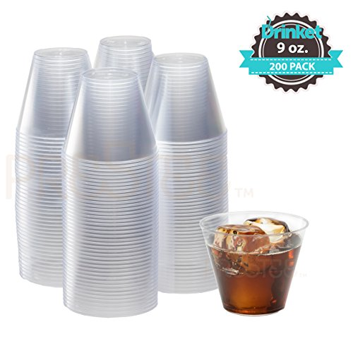 9 oz Clear Plastic Cups | Small Disposable Cups | Old Fashioned Tumblers | 200 Pack | Beverage Party Cups | Hard Plastic Drinking Cups | Ideal for Wine, Cocktails & Punch [Drinket] - Drink Cheap Wine