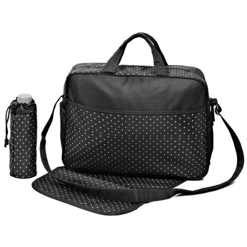 Nido del Bimbo–Juego de bolsas para Cambio de Pañales, 3 unidades + Bolso + Cambiador + Porta Biberón STAR BLACK STAR BLACK