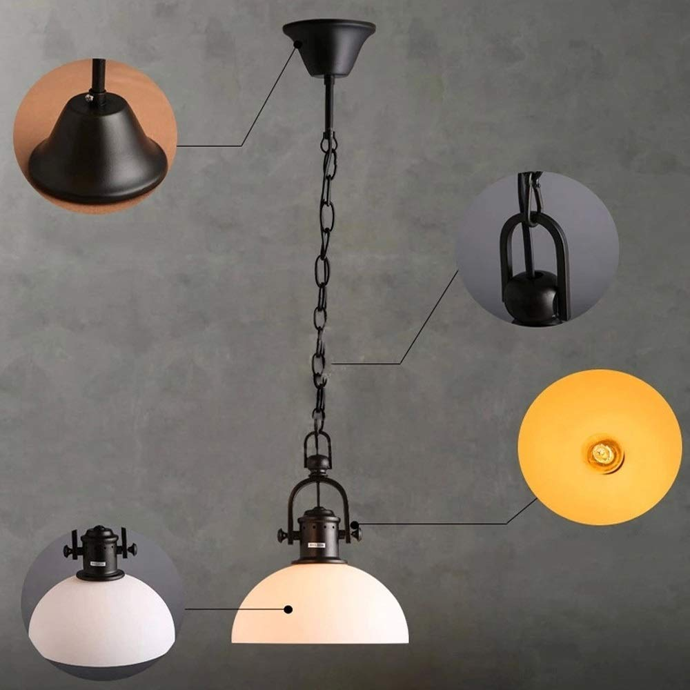 Qyyru Nordic Wrought Iron Chandelier Retro Fisherman's hat Industrial Lighting Suspension Light Coffee Shop bar Iron Hanging lamp American Country Pot Cover Single-Headed Restaurant Pendant Light