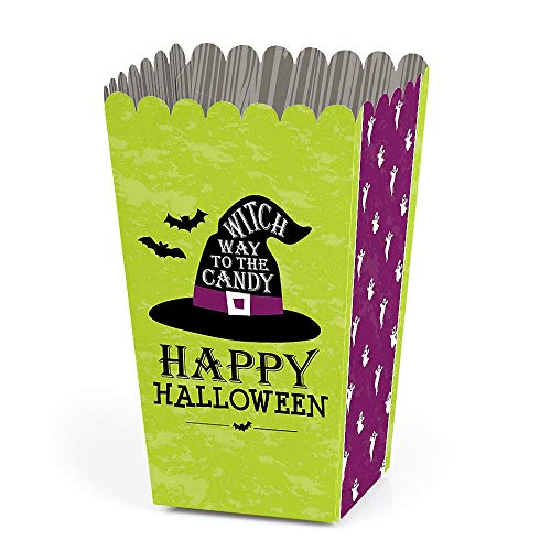 Happy Halloween - Witch Party Favor Popcorn Treat Boxes - Set of 12 -