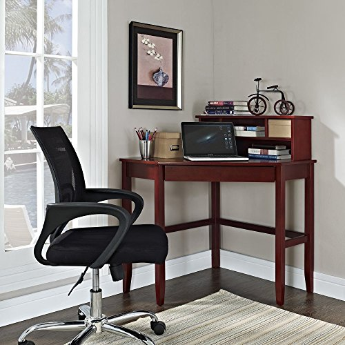 Corner Laptop Writing Desk with Optional Hutch - (Estate Hutch)