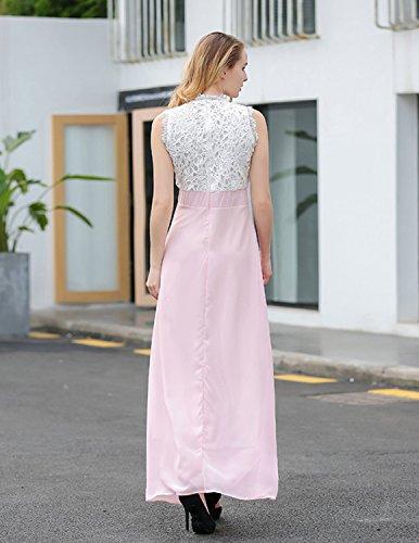 MODETREND Mujer Vestidos Elegante Largo de Sin Mangas Coctel Partido Vestidos de Fiesta para Noche Ceremonia y Graduación Rosa