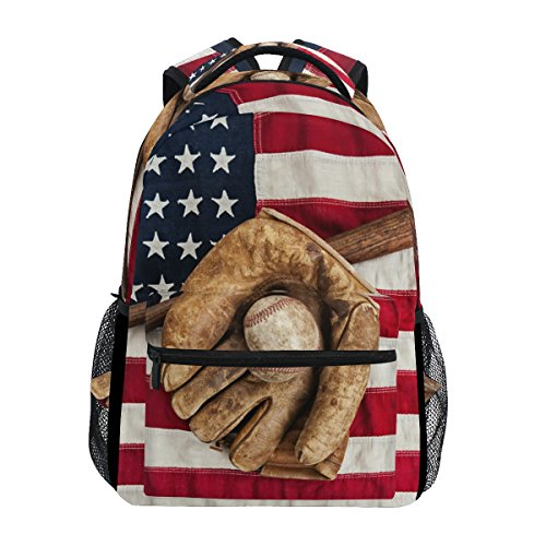 TropicalLife American Flag USA Baseball Backpacks School Bookbag Shoulder Backpack Hiking Travel Daypack Casual Bags