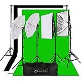 CanadianStudio Photography Video 1400 watt output Studio Continuous Umbrella softbox Lighting Light Black/White/green High Key Muslin Backdrop Stand Kit