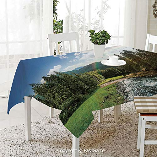 Party Decorations Tablecloth Riverside Flowing Mountain with Towering Pine Trees and Rainbow Clouds Sunny Day Resistant Table Toppers (W60 xL84) ()