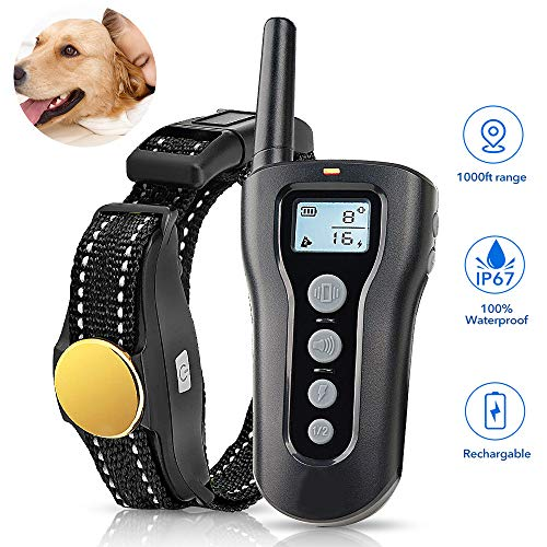 (TOKEGO Dog Training Collar,Remote Rechargeable Shock Collar for Dogs, Waterproof Electric Shock Collar with Beep Vibration Shock for Small Medium Large Dogs)